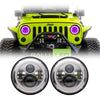 Jeep Wrangler Color Halo LED Headlights JK/JKU/TJ 1997-2018 - Chrome 4 Pod (Pair)
