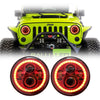 Jeep Wrangler Red Halo LED Headlights JK/JKU/TJ 1997-2018 - Red 4 Pod (Pair)