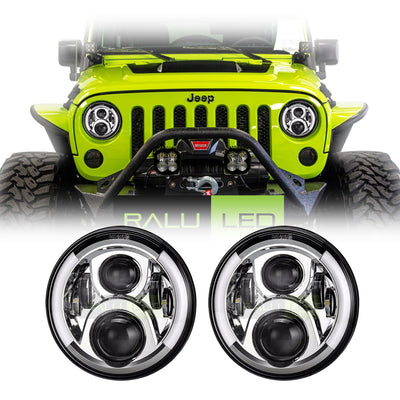 Jeep Wrangler Halo LED Headlights JK/JKU/TJ 1997-2018 - Split Halo (Pair)