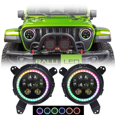Jeep Wrangler JL LED Color Changing Halo Headlights 2018-2019 - 6 Pod  (Pair)