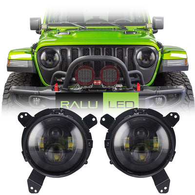 Jeep Wrangler JL Black LED Headlights 2018-2019 - Black 4 Pod  (Pair)