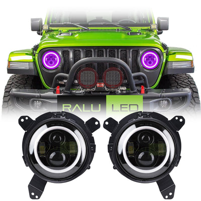 Jeep Wrangler JL Color LED Halo Headlights 2018-2019 - Black 4 Pod (Pair)