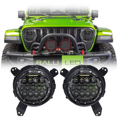 Jeep Wrangler JL LED Headlights 2018-2019 - Black Bugeye Colored Daytime Running Lights (Pair)