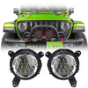 Jeep Wrangler JL LED Headlights 2018-2019 - Chrome Bugeye Colored Daytime Running Lights (Pair)