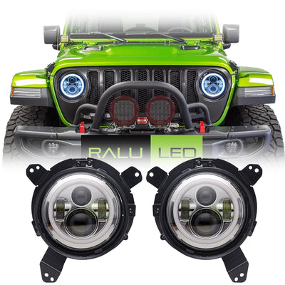 Jeep Wrangler JL Color LED Halo Headlights 2018-2019 - Chrome 4 Pod (Pair)