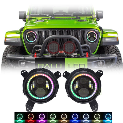 Jeep Wrangler JL Color Changing LED Halo Headlights 2018-2019 - Gen2 RGB (Pair)