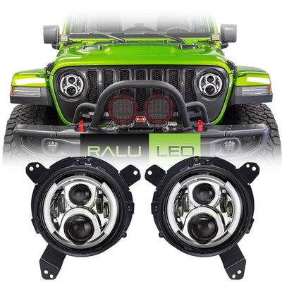 Jeep Wrangler JL LED Halo Headlights 2018-2019 - Split Halo (Pair)