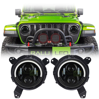 Jeep Wrangler JL LED Halo Headlights 2018-2019 - Top Halo (Pair)
