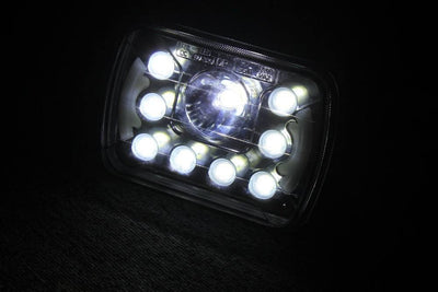 "Square Headlights - 7x6""/5x7"" Inch Dot LED Headlights With Daytime Running Lights (Pair) - Jeep XJ/YJ"