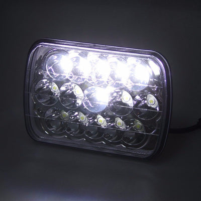 "Square Headlights - 7x6""/5x7"" Inch Square Dot LED Headlights (Pair) -Jeep XJ/YJ"