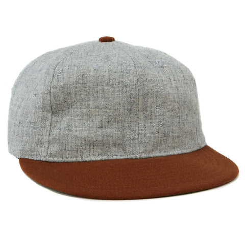 Grey Brown Wool Vintage Ballcap