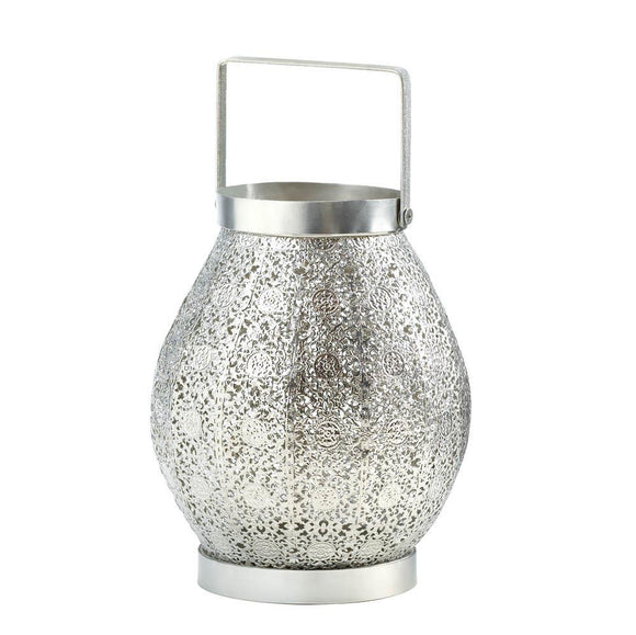 Silver Lace Design Candle Lamp