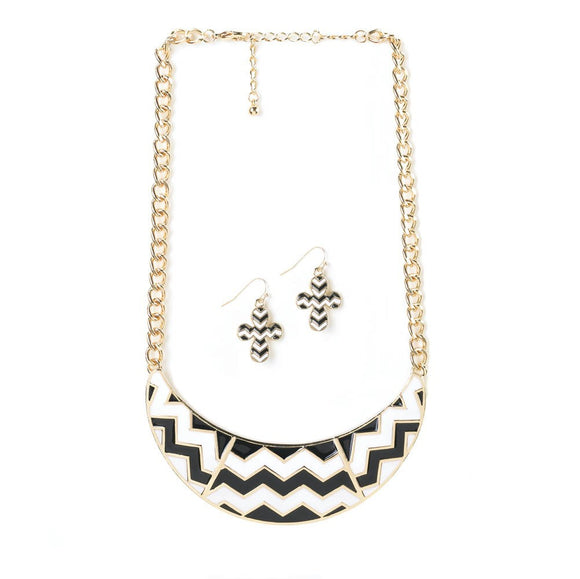Chevron Necklace And Earrings Set