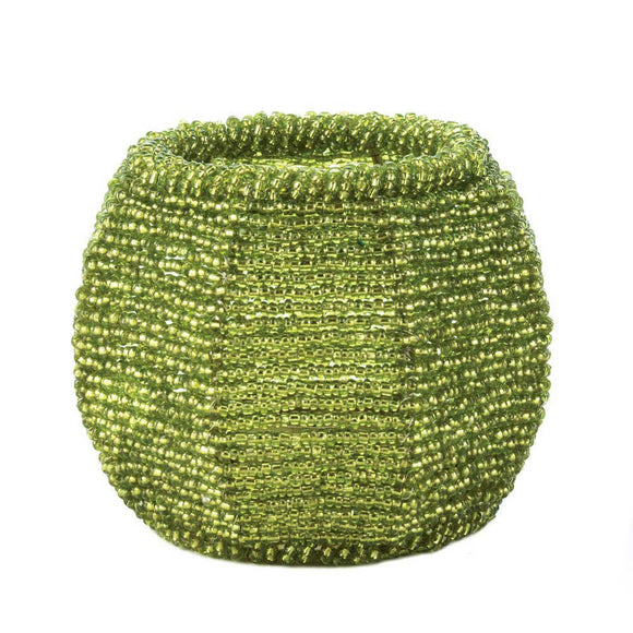 Lime Green Beaded  Candleholder