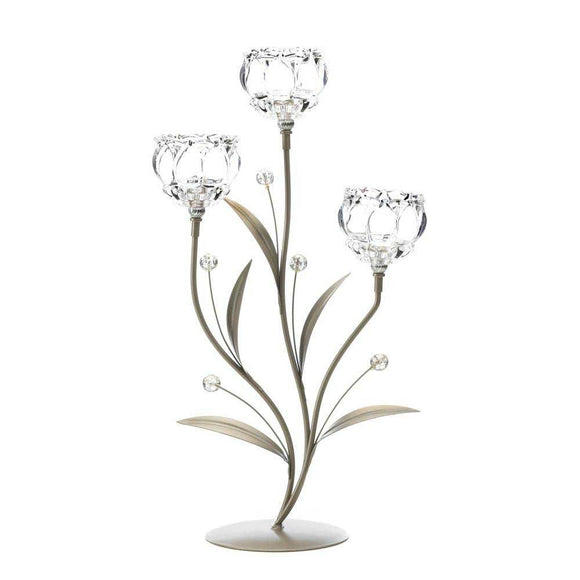 Crystal Flower Triple Candleholder