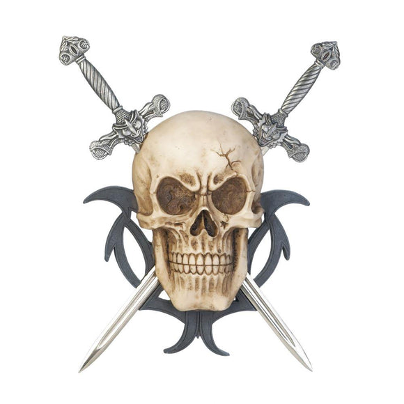 Skull Two Swords Wall Plaque