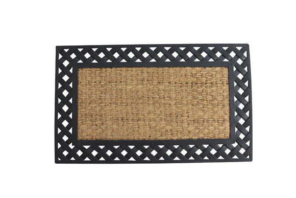 Basket Weave Border Welcome Mat