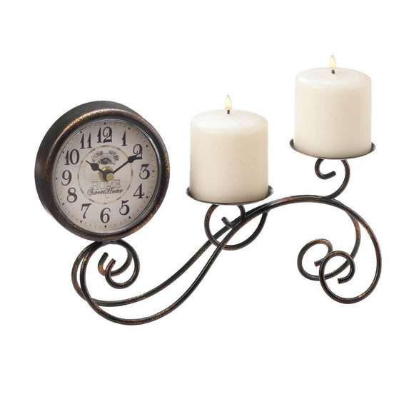 Scrollwork Table Clock And Candleholder