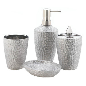 Hammered Silver Texture Bath Accessories