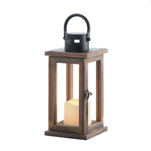 Lodge Wooden Lantern With Led Candle