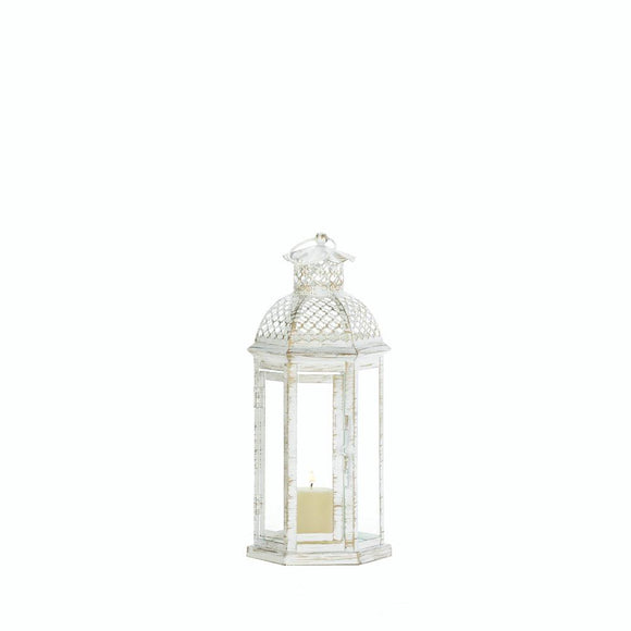 White Moroccan Lattice Lantern