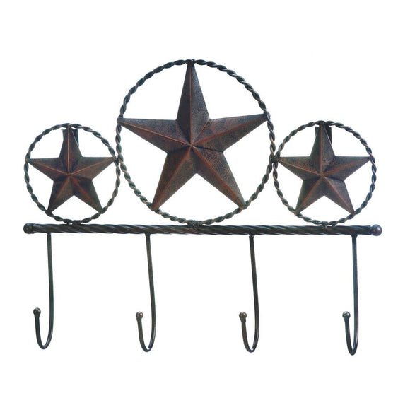 Texas Star Wall Hooks Plaque