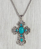 Turquoise Bead Cross Necklace