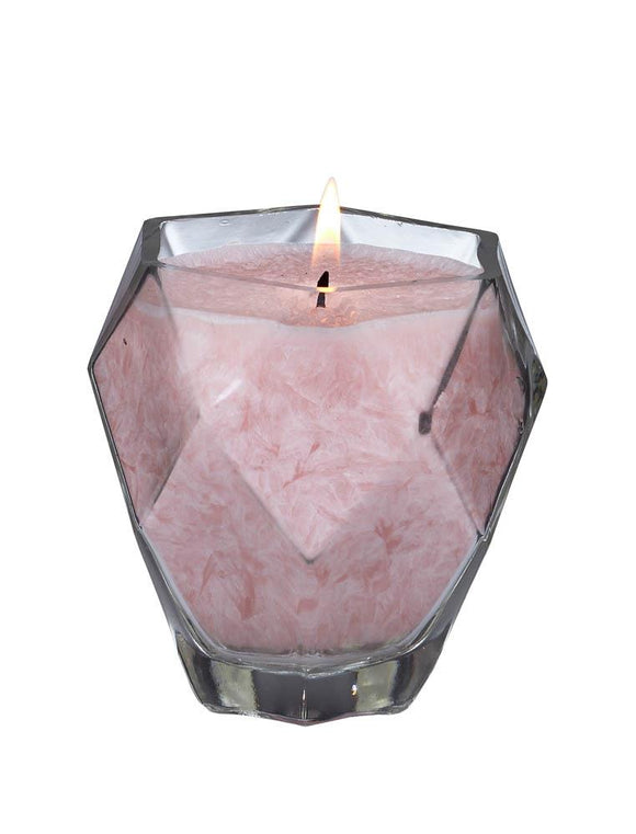 Rose Quartz Jewel Glass Candle