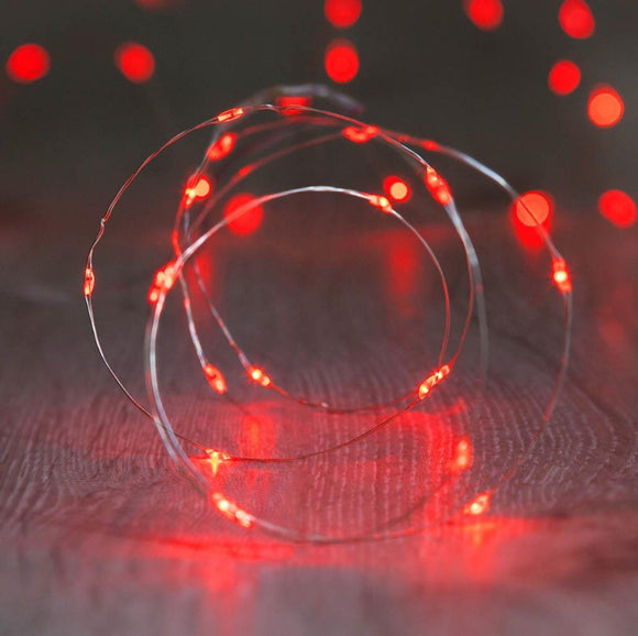 20 Led Copper Fairy Lights Red