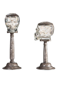 Light Up Glass Skull Stands Set Of Two