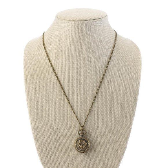 Bronze Rose Mini Necklace Watch
