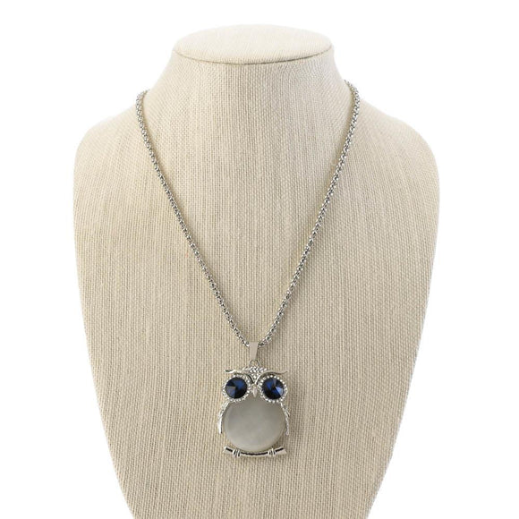 White Crystal Owl  Necklace