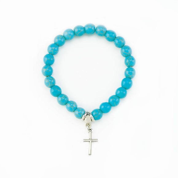 Cross Charm Stretch Turquoise Bracelet