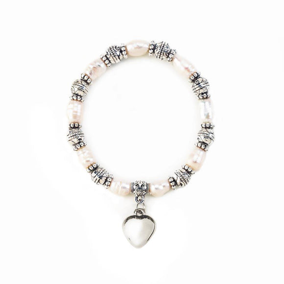 Pearl Stretch  Bracelet With Heart Charm
