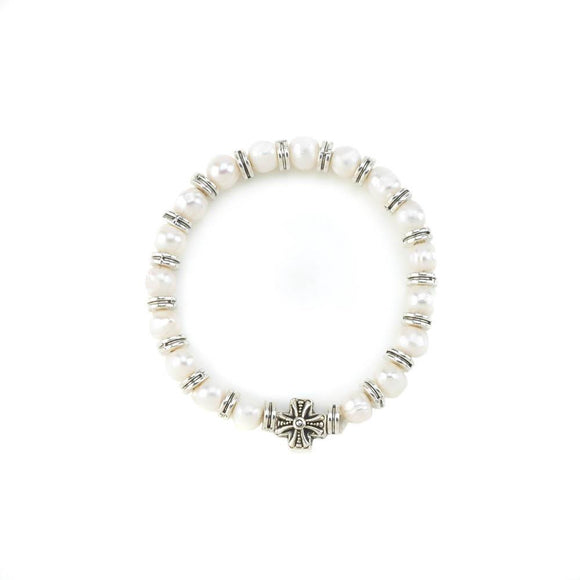Pearl Stretch  Bracelet With Cross