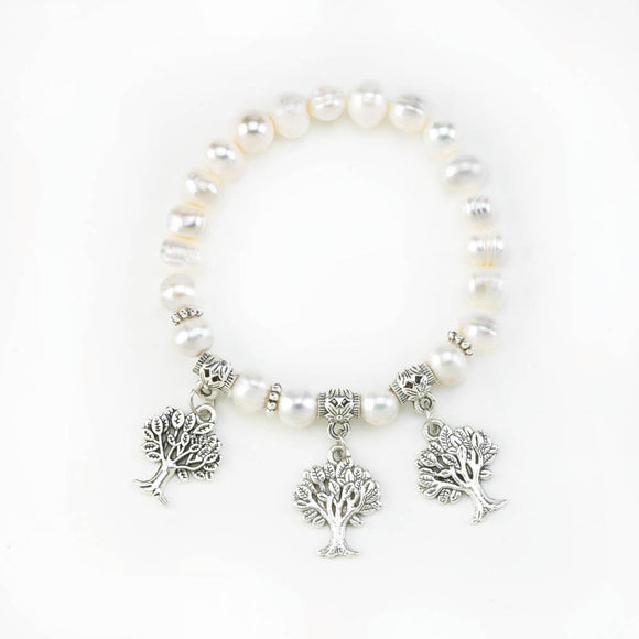 Pearl Stretch Bracelet With Tree Charms