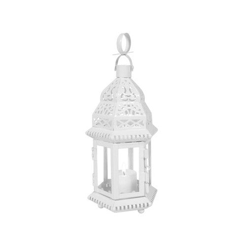 Small White Moroccan Lantern with Clear Glass