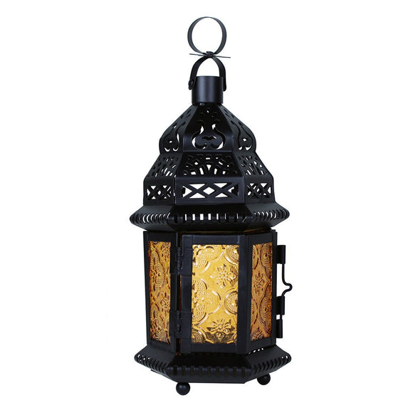 Small Moroccan Lantern with Amber Glass