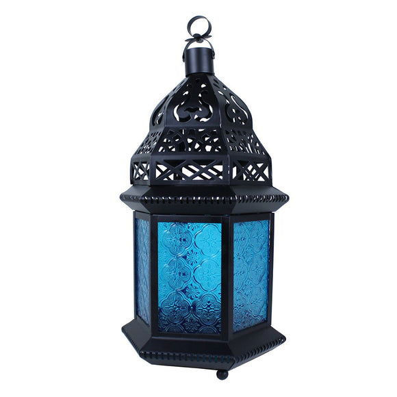 Large Moroccan Lantern with Blue Glass