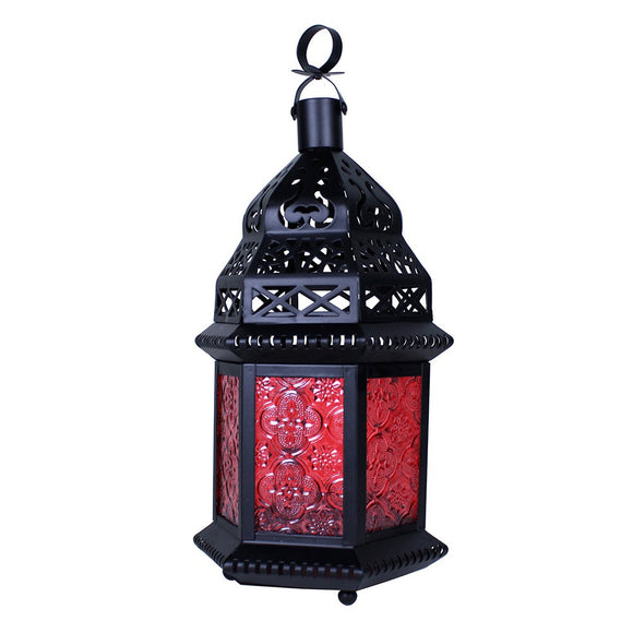 Medium Moroccan Lantern with Red Glass