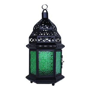 Large Moroccan Lantern with Green Glass