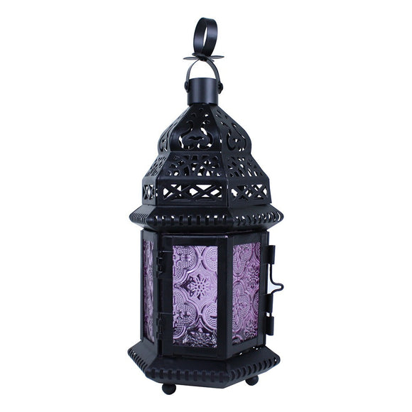 Small Moroccan Lantern with Purple Glass