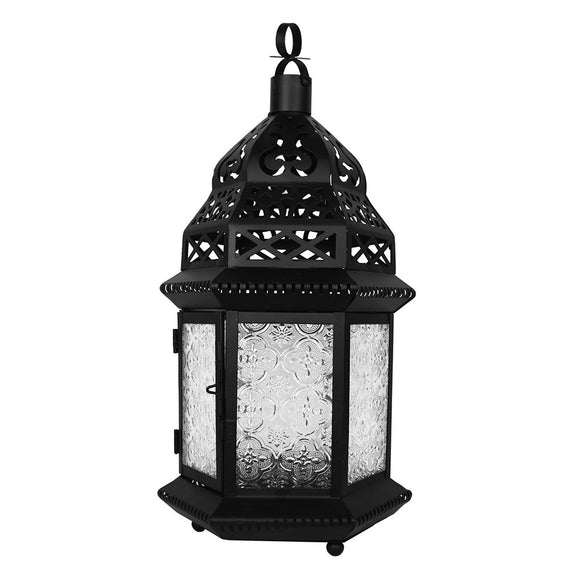 Large Moroccan Lantern with Embossed Glass