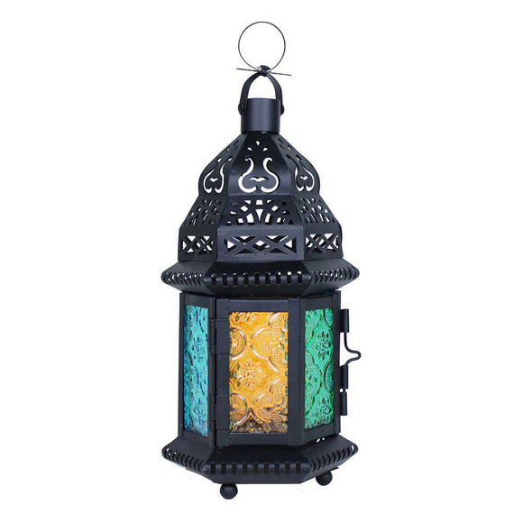 Small Moroccan Lantern with Multicolor Glass