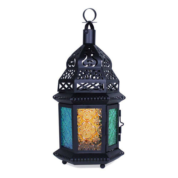 Medium Moroccan Lantern with Multicolor Glass