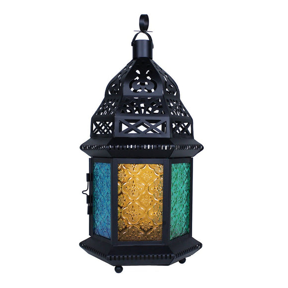 Large Moroccan Lantern with Multicolor Glass
