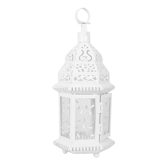 Small White Moroccan Lantern with Pattern Glass