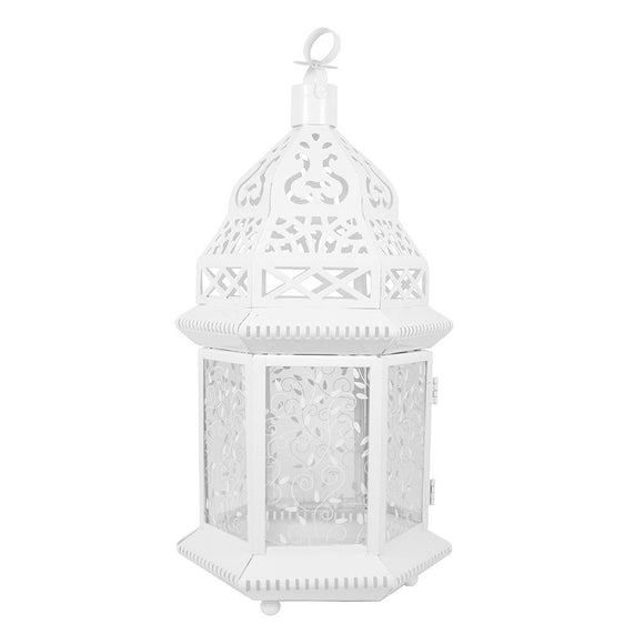 Large White Moroccan Lantern with Pattern Glass