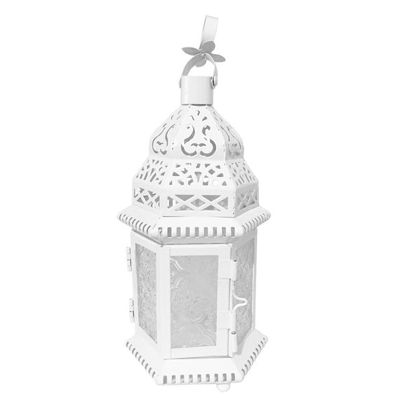 Small White Moroccan Lantern with Embossed Glass