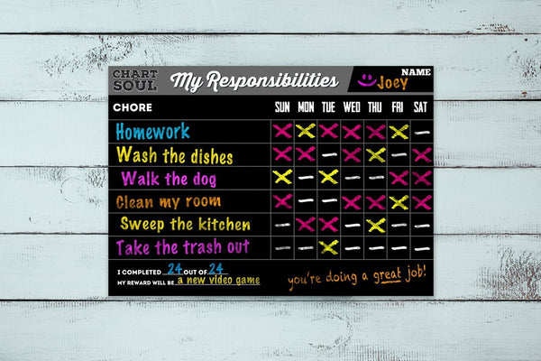 Chalkboard Chore Chart Adhesive Decal - Erasable, Reusable Responsibility Tracker